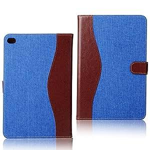 レザーケース デニム 手帳型 スマホケース (iPad mini4, ブルー) [並行輸入品]