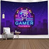 Crannel Tapestry Wall Hanging, Gamer Play Win Logo Nesign Logo Template Game Night Logo in Nesty Tapestry 60X50 Inches Wall A