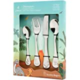 Stanley Rogers 50744 Children's Cutlery Dinosaurs 4 Piece, Stainless Steel Cutlery Set, Durable Flatware for Kids, Mirror Pol