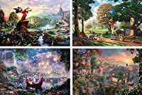 THOMAS KINKADE FANTASIA LADY & THE TRAMP WINNIE THE POOH TANGLED DISNEY DREAMS COLLECTION 4 IN 1 JIGSAW PUZZLE SET 500 pieces, Model: 3666-1, Toys & Play by Kids & Play [並行輸入品]
