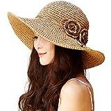 (シッギ)Siggi 麦わら帽子 ストローハット レディース 夏 つば広 サイズ調整 uvカット ゴルフ 釣り 折りたたみ 女優帽子 サンバイザー ベージュ
