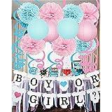 Furuix  誕生日 飾り付け パーティー 飾り付け ペーパーポンポン 提灯  ガーランド 41点 ブルー ピンク