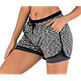 JANSION Women Workout Running Shorts 2 in 1 Athletic Yoga Gym Sport Shorts with Pockets