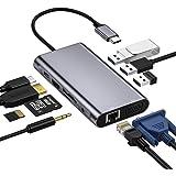 【10-in-1 100WPD出力対応 4K対応 ディスプレイ2台に出力可能】USB C ハブ HUB 10ポート ドッキングステーション タイプc ハブ 2020 Mac Air、MacBook Pro 13/15(Thunderbolt 3)Ch