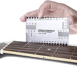 耐久性のあるストリング作用ルーラーゲージツール ギター測定調整工具 ダブルサイドゲージルーラー(弦高測定器) ギタリスト 調整 メンテナンス 必需品 アコースティックギター、エレアコギター、エレキギター、クラシックギターも使える ステンレス
