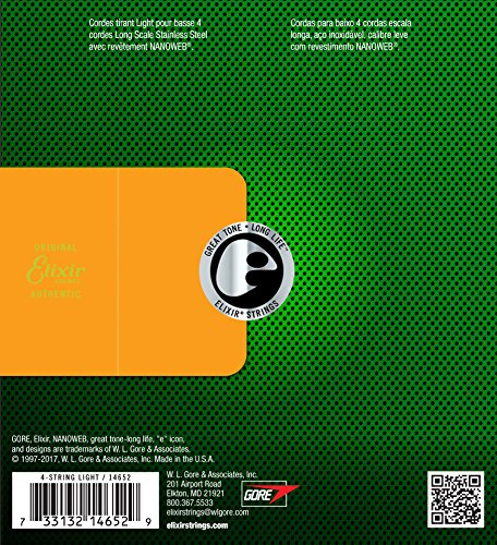 Elixir エリクサー ベース弦 NANOWEB ステンレス Long Scale Light .045-.100 #14652 【国内正規品】