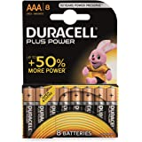Duracell Plus AAA Alkaline Batteries [Pack of 8], 1.5 V LR03 MN2400