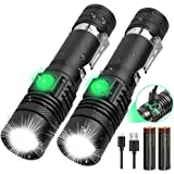 LED Tactical Flashlight Rechargeable (18650 Battery Included), IPX6 Waterproof Flashlight, 1200lm, Super Bright LED, Zoomable