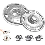 """50 Sets Sew-on Snap Buttons, Metal Snaps Fasteners Press Studs Buttons for Sewing Clothing, 3/4"""" 19mm(Silver)"""