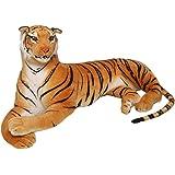 Toyvian Large Tiger Doll Plush Animal Stuffed Toy Doll for Kids Adults Boys Room Bedroom Living Room Tabletop Desktop