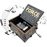 Star Wars Music Box,Wooden Hand Crank Unique Musical Boxes Theme Starwars, Mini Antique Vintage Craft Laser Engraved Home Dec