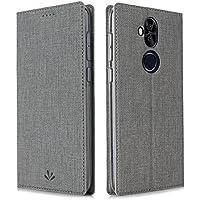 Feitenn Asus Zenfone 5 Lite ケース Zenfone 5Q ZC600KL 布調 PU TPU ケース 手帳型 全面保護 スタンド機能 マグネット内蔵 カードホルダー付き 新型 スマートカバー (Zenfone 5Q ZC600KL, グレー)