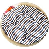 女の子の心の椅子のクッションクッションクッション学生の教室かわいいおならパッド厚い畳座クッションブースターパッド,コーヒーブルーストライプ,50x50cm [スリップバージョンの厚]