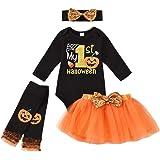 Xifamniy Baby Girls My 1st Halloween Outfit Newborn 4Pcs Pumpkin Costume Bodysuit Headband Legging Socks Set