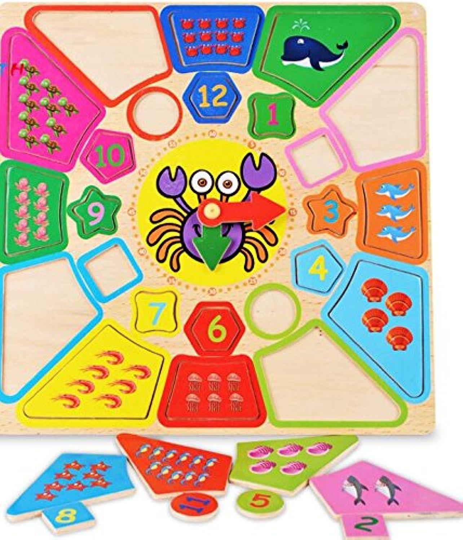 HuaQingPiJu-JP 漫画教育木製時計玩具早期学習時間の数の形の色の動物の認知のおもちゃ(カニ)