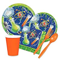 Mad Scientist Party Supplies for 16 Guests - Paper Plates Napkins 9oz Cups Forks Spoons [並行輸入品]