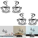 Luckycivia 2 PCS Coffee Tea Cup Art Wall Decal Sticker Removable DIY Vinyl Mug Decal Wallpaper Funny Wall Decor for Kitchen H
