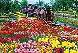 1000ピース ジグソーパズル チューリップ公園の五連水車(49x72cm)