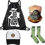 Baby Y-O-D-A Gift Set - 1 Drawstring Bag Backpak, 1 Baby Ears Green Socks 1 Wide Wicking Headbands Outdoor Headwear Sports Sc