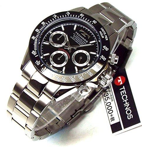 TECHNOS テクノス メンズ腕時計 クロノグラフ ブラックダイヤル 工具ブレスセット TSM401TB-SET [並行輸入品]
