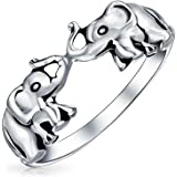 Good Luck Trunk Up Zoo Animal Two Elephants Ring For Women For Teen Oxidized 925 Sterling Silver