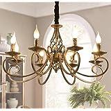 Pendant Light Vintage Industrial Pendant lamp Black Metal and Glass Wood Rustic Chandelier Height Adjustable Suitable for Liv