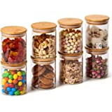 EZOWare 8 Piece Clear Glass Jars Air Tight Canister Kitchen Food Storage Container Set with Natural Bamboo Lids for Candy, Co