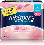Whisper Skin Love Ultra Slim Day/Night Wings Sanitary Pads, 16ct