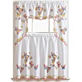 3pcs Kitchen Curtain/Cafe Curtain Set, Air-brushed By Hand of Flying Butterfly Design
