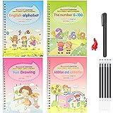 VANREYIN 4pcs Magic Practice Copybook for Kids - The Print Handwiriting Workbook-Reusable Writing Practice Book --Alphabet Bo
