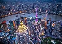 絵画風 壁紙ポスター (はがせるシール式) 上海のパノラマ夜景 長江 シャンハイ 中国 北京 キャラクロ CSGH-003A2 (A2版 594mm×420mm) 建築用壁紙+耐候性塗料