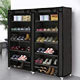 (Black) - Blissun 5 Tiers Shoe Rack Shoe Storage Organiser Cabinet Tower with Nonwoven Fabric Cover (Black)