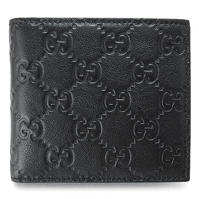(グッチ) GUCCI 二つ折財布 146223 A0V1R 1000 メンズ GG柄レザー シマ ブラック [並行輸入品]