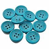 英文字入りウッドボタン 直径15mm 10個 4つ穴ボタン (ブルーグリーン)