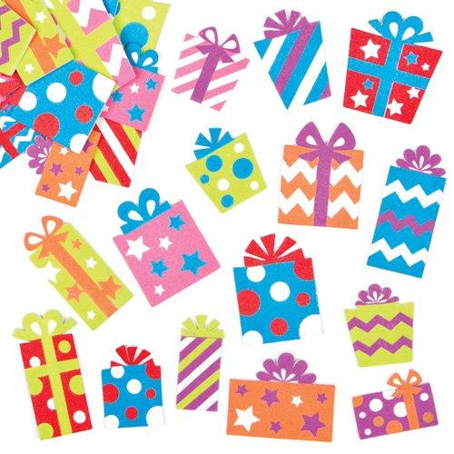 キラキラプレゼント・スポンジシール(120枚入り) クリスマスの工作や手作りカードのデコレーションに