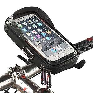 MRedoxe 自転車ホルダー 防水 防塵 バイクスタンド スマホホルダー 360 度回転 スマホバッグ フレームバッグ 強力固定 多機種対応 Andriod/iPhone/GPS (黒)