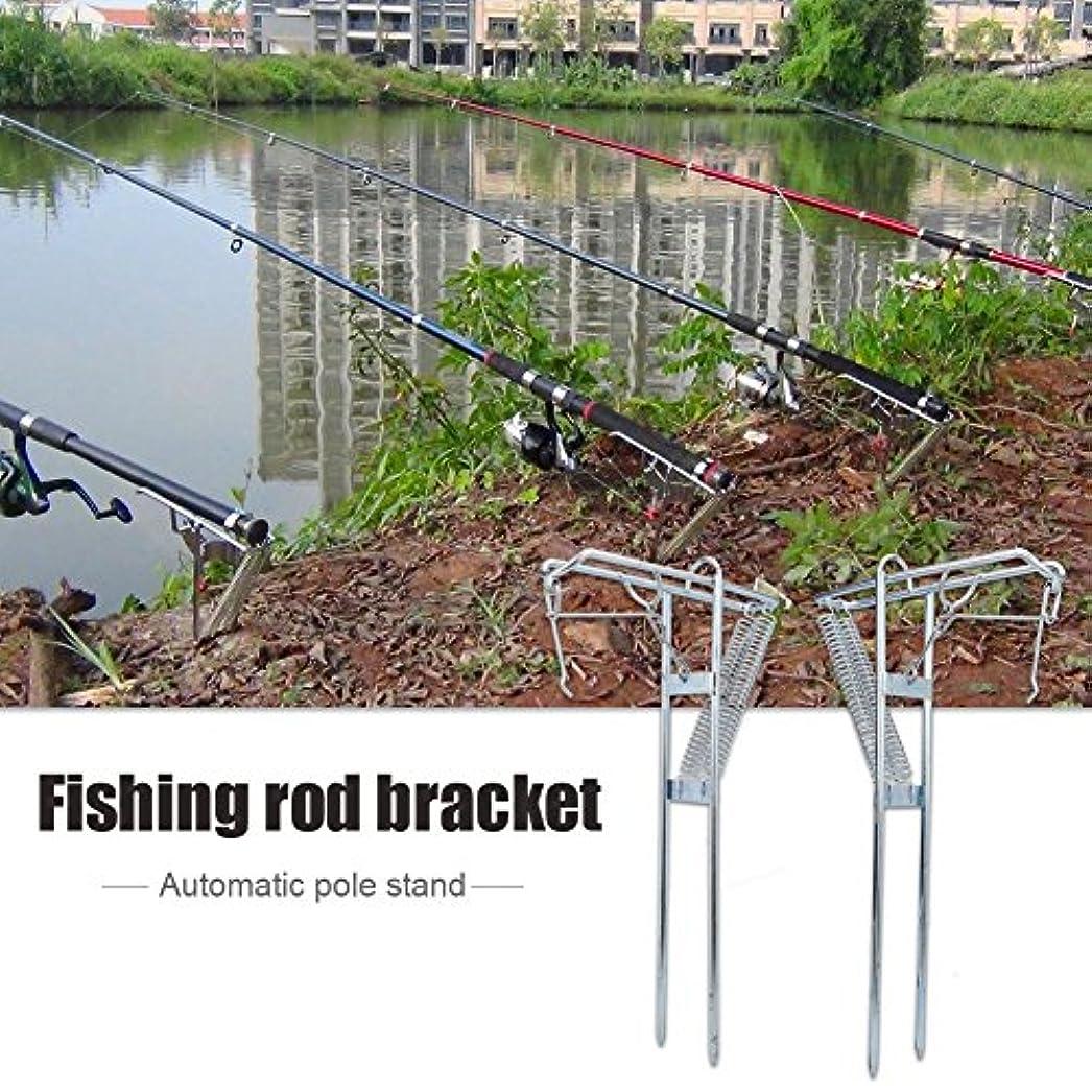 酸化する雑種西部金属製釣り竿ホルダー 自動チップアップフックセット ポータブルダブルスプリングロッド 釣り竿スタンド グランドサポートフィッシュポールラックアクセサリー 1個