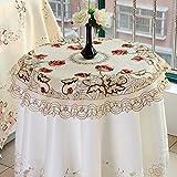 ファッションホーム-ヨーロッパ デザイン 円形テーブルクロス ラウンドクロス 刺繍入り 薔薇花柄 直径85cm (ベージュ地にレッドローズ柄)