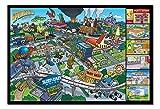 ザ・シンプソンズ スプリングフィールド ロケーションズ ポスター ブラックフレーム&サテンマットラミネート - 96.5 x 66cm (約38 x 26インチ)