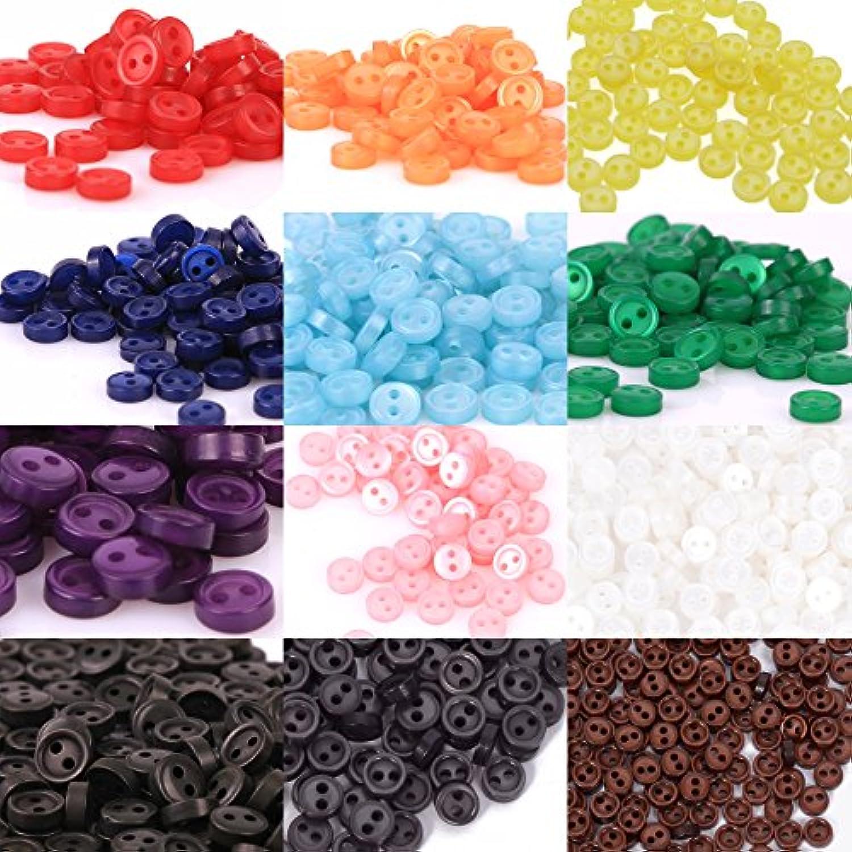 人形用 ドール服の材料 プラスチック ボタン 二つ穴 4mm 12色 各20個 合計 240個