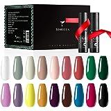 TOMICCA Gel Nail Polish Set 18 Pure Colors Gel Polish Kit UV LED Gel Polish Nude Color Nail Art Manicure Kit