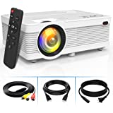 3800Lumens LCD Projector- Full HD 1080P Supported, Portable Mini Projector Compatible with HDMI, USB, AV, TF, VGA, Smartphone