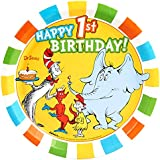 Dr Seuss Cat in the Hat Party Supplies – 1st Birthday Dinner Plates ( 8 )