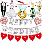 JINSELF 結婚式 吊るせる風船 ウエディングバルーン 豪華26ピース 飾り付け セット ポンプ付き シルバー KB