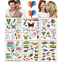 Temporary Tattoos 6 Sheets Rainbow Tattoo Stickers Colorful Flag Butterfly Flower Long Lasting Temp Tattoos for Gay Pride Men Women Face Arm Body Decorations Festival Party Celebration Supplies