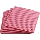 Smithcraft Lucky Plus Square Silicone Rubber Pot Holder Trivet Mat for Hot Pan and Pot Hot Pads Counter Mat Heat Resistant Ta