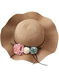(ハッピー?ライフ)Happylife つば広 帽子 女の子 UVカット 麦わら ハット ひも付き キッズ帽子 幼稚園 お出かけ