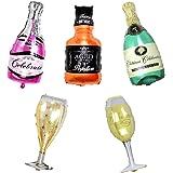 ED-Lumos Set of 5 Pack Giant Wine Bottle Glasses Reusable Balloons for Birthday Party Decoration Children Kids Gift