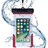 AQUA MARINA 防水ケース iPhone Xperia Galaxy 国際保護等級 IPX8認定 ネックストラップ アームバンド付 水深1m潜水対応 海 プール お風呂 レジャー 旅行 キッチン FREETEL arrows ZenFone 5.5インチ以下全機種対応 WPP-16-063RD
