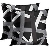 Emvency Set of 2 Throw Pillow Cover Gray Black Stripes Design Retro Decorative Pillow Case Striped Home Decor Square 18x18 In